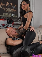 Biker slut jade Exciting ebony ladyboy using a guy to please her.