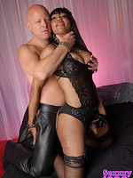 Jade and tom. Elegant chocolate TS Sexxxy Jade riding a cock