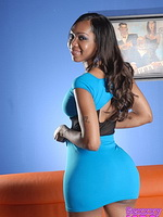My blue dress. Chocolate hotness Sexxxy Jade posing her pretty body